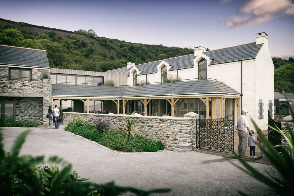Pendower Hotel and restaurant courtyard - Planning submitted for Pendower Beach Hotel Regeneration